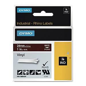Taśma winylowa DYMO 1805424 RHINO 24mm, kolor druku/tła: biały/brązowy