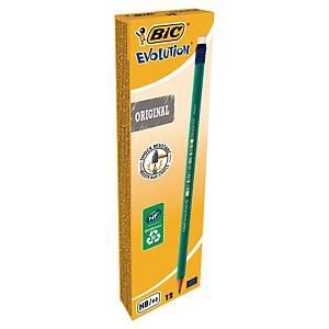 Crayon graphite Bic Evolution - HB - embout gomme - boîte de 12