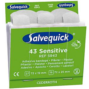 Salvequick 6943 sensitive bandage for bandage dispenser  - pack of 43