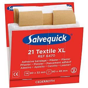 Salvequick 6470 sparadrap en textile XL pour distributeur - paquet de 21