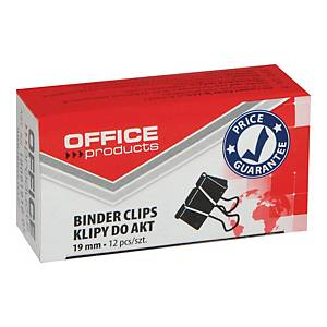 Klipsy do papieru 19 mm OFFICE PRODUCTS, czarne, 12 sztuk * ZAMIENNIK