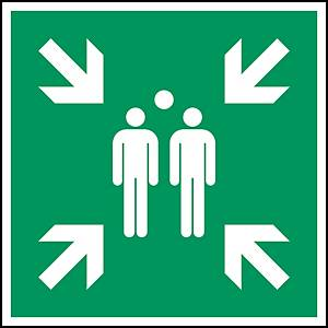 Brady E007 pictogram verzamelplaats evacuatie, bidirectioneel, 148 x 148 mm