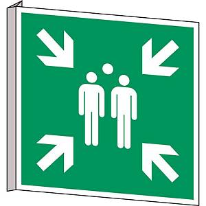 Brady E007 pictogram verzamelplaats evacuatie, bidirectioneel, 250 x 250 mm