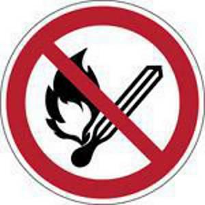 Brady pictogramme autocollant P003 Feu, flammes et fumer interdits 50mm - pq2
