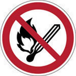 Brady self adhesive pictogram P003 No open flame, fire and smoking 200mm