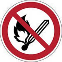 Autocollant d interdiction feu ouvert et de fumer Brady P003, 200 mm, 1 pièce