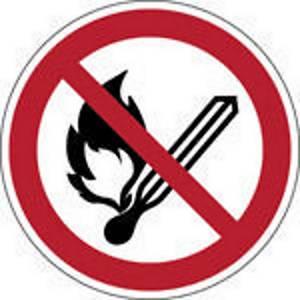 Brady pictogramme autocollant P003 Feu, flammes et fumer interdits 200mm