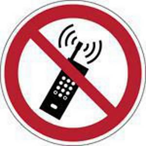 Brady pictogramme autocollant P013 Interdiction téléphones mobiles 50mm - pq2