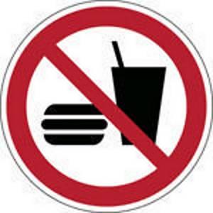 Brady pictogramme autocollant P022 Interdiction de manger ou de boire 100mm