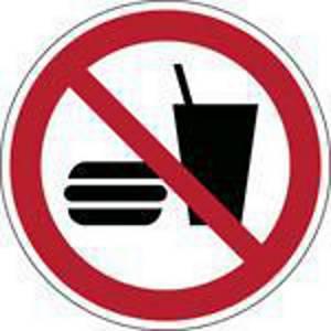 Brady P022 verbodsteken eten en drinken verboden, PP, 200 mm, per stuk