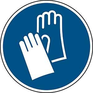 Panneau d obligation gants de sécurité Brady M009, autocollant, 100mm, 1x