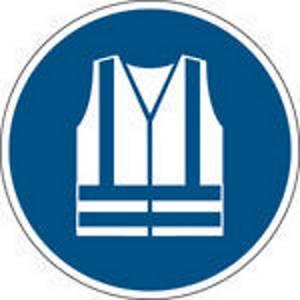 Panneau d obligation veste de sécurité Brady M015, PP, 200 mm, la pièce