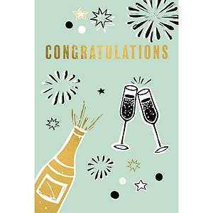 Greeting card congratulations champagne - pack of 6