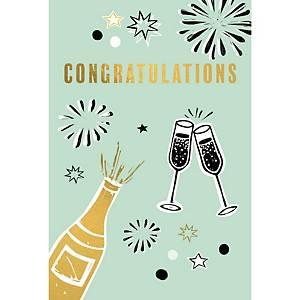 Wenskaart gefeliciteerd champagne - pak van 6