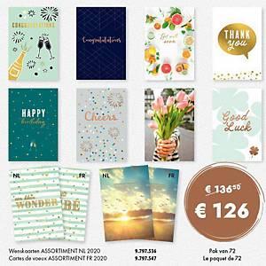 Carte voeux assortiment néerlandais 2020- paquet de 72