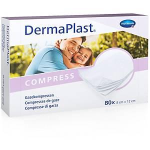 Compresses de gaze DermaPlast, 8 x 12 cm, blanc