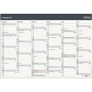 Kalender Mayland 0642 00, 2 x 6 måneder, 2021, 70 x 100 cm, papir, grå