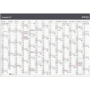 Kalender Mayland 0643 00, 13 måneder, 2021, 70 x 100 cm, papir, grå