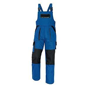 Pracovné nohavice s náprsenkou CERVA MAX, veľkosť 54, modro-čierne