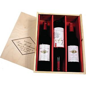 Rotwein Les Richoises, Inhalt: 3 x 0,75l, sortiert, Holzkiste mit 3 Flaschen