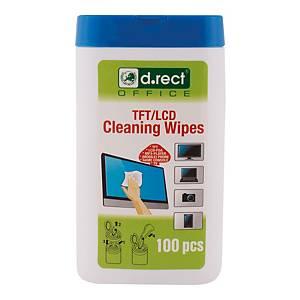 Chusteczki do czyszczenia TFT/LCD D.RECT, 100 sztuk