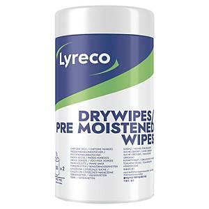Lingettes nettoyantes Lyreco sèches/humides pour écrans et appareils, 2 x 50