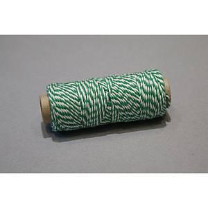 Touw uit kantoen, groen-wit, per bobijn met 50 meter katoentouw