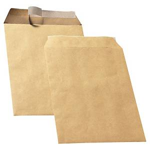 Bags 229x324mm peel and seal 90g brown - box of 250