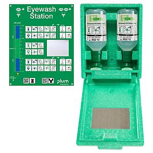 Wandbox mit Augenspüllösung und Spiegel Plum 4650, 2x500ml, 28x23x11cm
