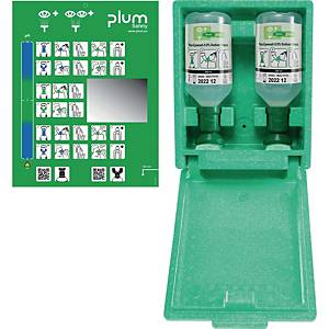 Staubgeschützte Wandbox Plum 4650, 2 x 500 ml Augenspüllösung und Spiegel