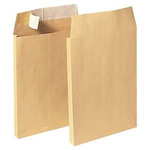 Lyreco Manilla C4 Peel And Seal Gusset Envelopes 140Gsm - Box Of 100