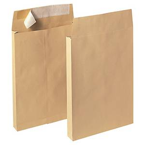 Bags 250x353x30mm peel and seal 120g brown - box of 100