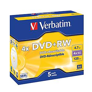 VERBATIM DVD+RW Jewel 4.7GB 43229 1-4x, emballage de 5 Pcs