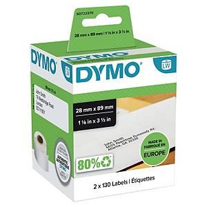 Dymo 99010 adresetiketten voor labelprinter, 89 x 28 mm, 2 rollen van 130