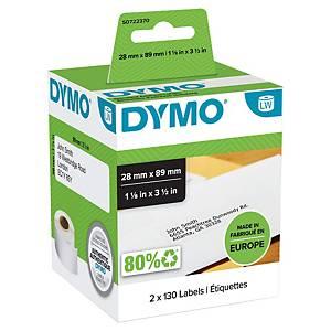 Caja de 2 rollos de 130 etiquetas adhesivas Dymo LW - 89 x 28 mm - blanco