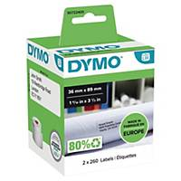Dymo LW Large Address Labels, 36mm X 89mm, Black Print On White, 2 Rolls of 260