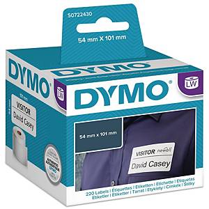 Adresseetiketter Dymo LabelWriter, 54 x 101 mm, rulle a 220 etiketter