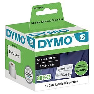 Dymo szállítási címke, fehér, 101 x 54 mm, 220 db/szalag