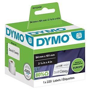 Rolo de 220 etiquetas adesivas Dymo LW - 101 x 54 mm - branco