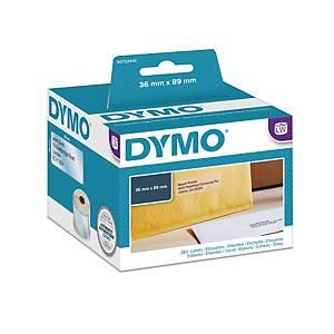 Dymo 99013 adresetiketten voor labelprinter, 89 x 36mm, transparant, rol van 260