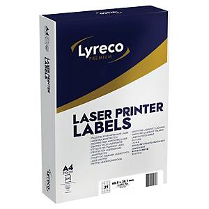 Lyreco Premium Laser Labels 63.5x38.1mm 21-Up White - Pack Of 250