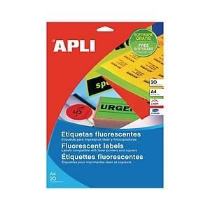 Caixa 20 etiquetas autocolantes Apli 2878 - 210 x 297mm - amarelo fluor