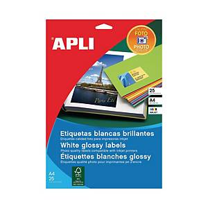 Caixa 10 etiquetas autocolantes Apli 2926 - 199,6 x 289,1 mm - branco