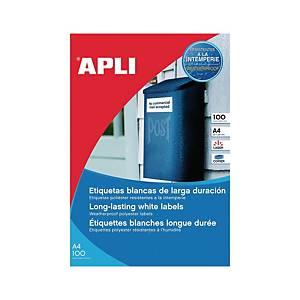 Caja de 20 etiquetas de poliéster Apli 1228 - 210 x 297mm - blanco