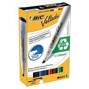 Bic® Velleda 1751 whiteboard marker, beitelpunt, assorti kleuren, per 4 markers