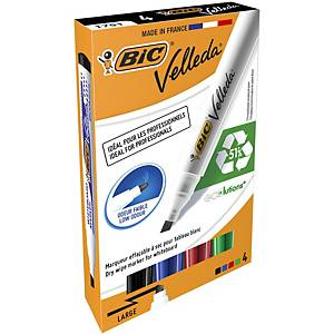 Bic Velleda 1751 ECOlutions Whiteboard Pens Med Chisel Tip Ast Colours, PK 4