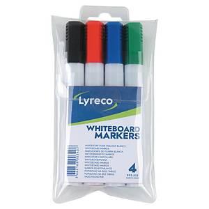 Marqueur tableaux blancs Lyreco, pointe biseautée, 4 couleurs assorties