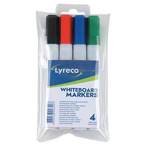 Whiteboardpenn Lyreco, Dry Wipe, kantet spiss, etui à 4 stk.
