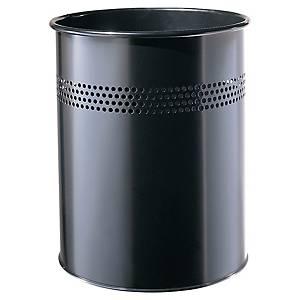 Ronde afvalbak uit opengewerkt metaal, 15 l, zwart