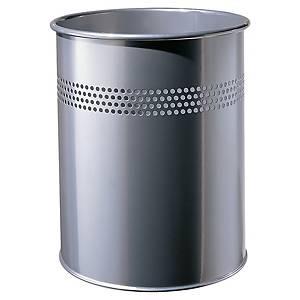 Ronde afvalbak uit opengewerkt metaal, 15 l, zilverkleurig